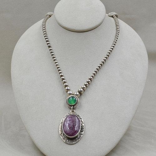 Corundum Ruby w/ Beryl & Sterling Silver Bead Necklace by Jerry Faires