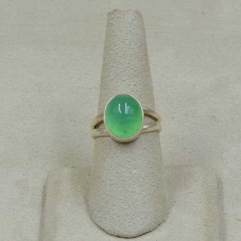 Oval Chrysoprase and Sterling Silver 7.5x Ring by Joe Glover