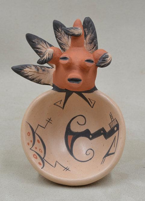 Warrior Mudhead Bowl w/ Vegetal Paints and Kiln Fired by Valerie Namoki