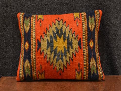 Set of 2 Centered Geometric Orange & Navy Zapotec Peanut Pillows