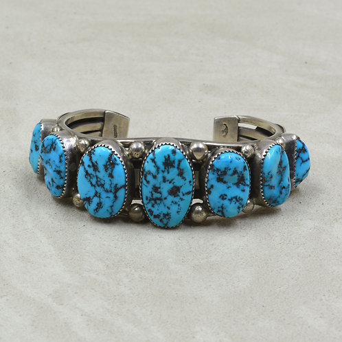 Vintage 70's Kingman Turquoise, Sterling Silver Row Cuff