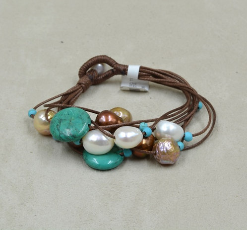 Cultured Freshwater Pearls, Turquoise, Multi-String Bracelet by US Pearl Co.