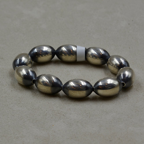 Oxidized Sterling Silver 10 Oval Beads Stretch Bracelet by Shoofly 505