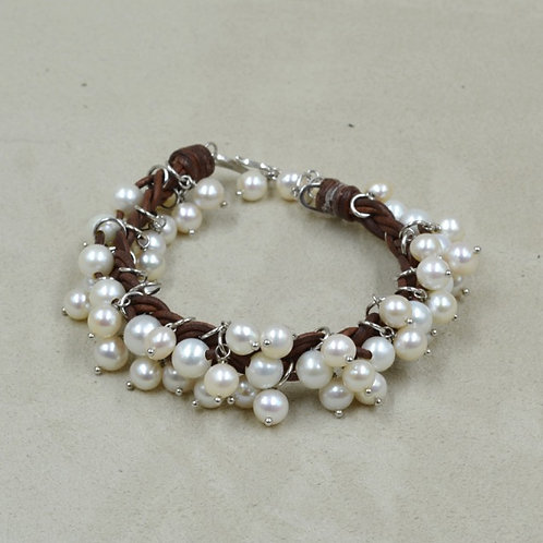 Cultured Freshwater White Pearls Bracelet on Brown Leather by US Pearl Co.
