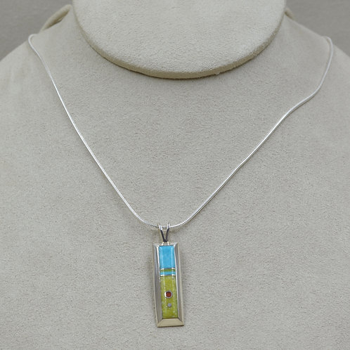 Serpentine, Turquoise, & Sterling Silver Long Pendant by Veronica Benally