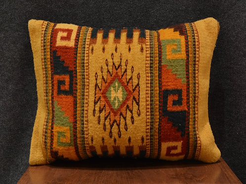 """Set of 2 Double-Sided Gold Candles Zapotec Pillows - 15"""" x 20"""""""