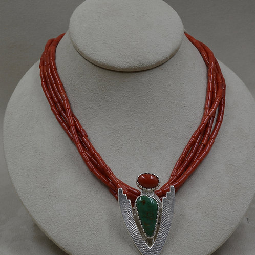 4-String Medium Coral and Sterling Silver Cuttle Cast by Althea Cajero