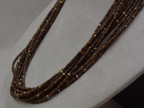 10 Strand Baby Olive Shell Heishi w/ Brass Bea Necklace by Peyote Bird