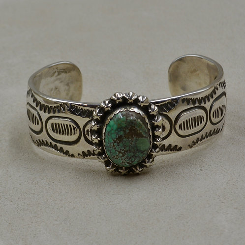 Candelaria Turquoise, Rare Pseudomorph, Stamped S. Silver Cuff by James Saunders