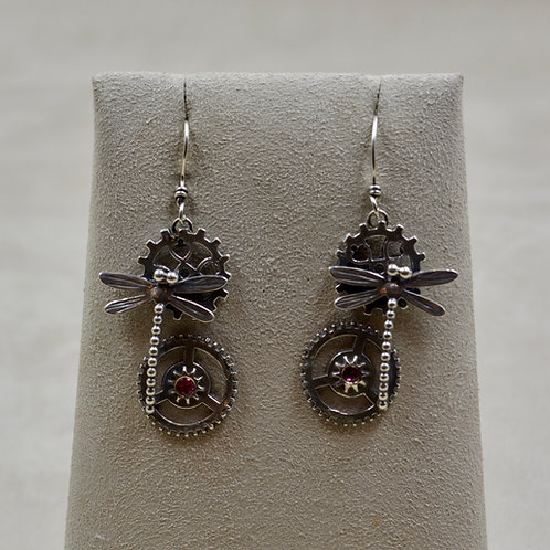 Sterling Silver Steampunk Rhodesian Dragonfly Earrings by Michele McMillan