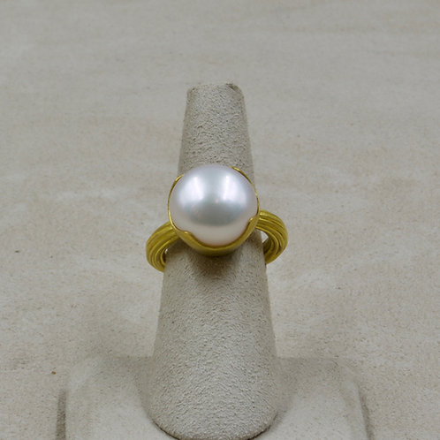 22k Gold & Large Pearl 7x Ring by Pamela Farland