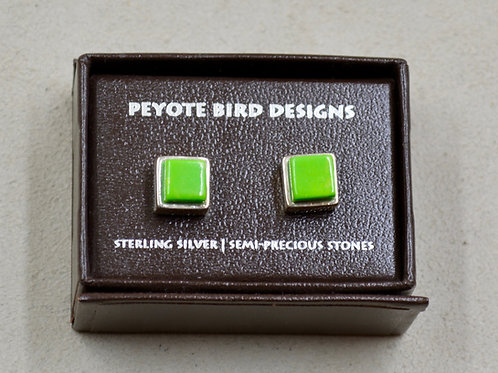 3-D Large Square Lime Turquoise Stud Earrings by Peyote Bird Designs
