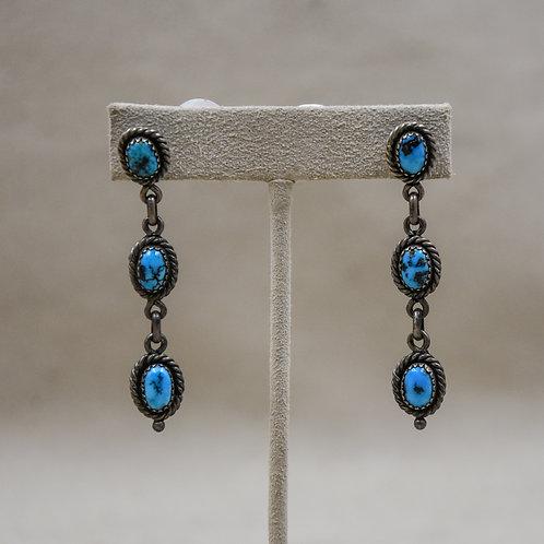3 Strand Dangle Natural Morenci Turquoise Earrings