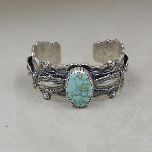 Oxydized Raised Repousse, Nat. Birdseye #8 Turquoise Cuff by Fritz Casuse