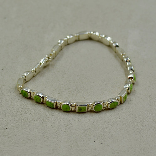 Gaspeite Mini Multi-Shaped Tennis Bracelet w/ S. Silver by Peyote Bird