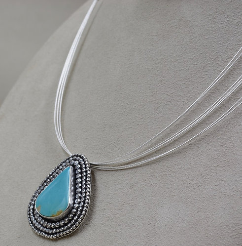 7-Strand SS Wire Necklace w/ Kingman Turquoise Pendant by Michele McMillan
