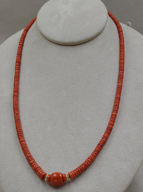 14k Yellow Gold, Hi-Grade Med. Coral, Beads Necklace by Lapidary Mastery