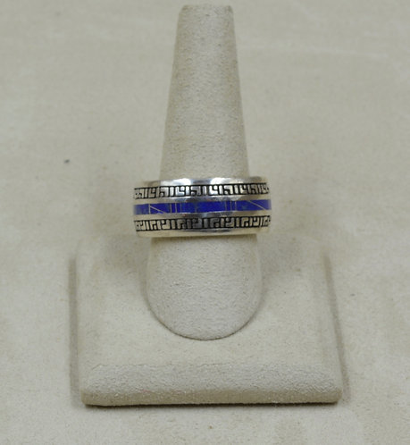 Lapis and Sterling Silver 12x Ring by GL Miller Studio