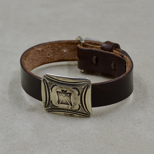 Ingot Square Concho Tbird Stamped on Leather by Buffalo