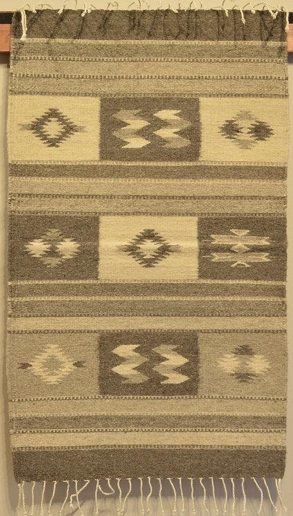 "Zapotec Center Geometry Rug - Natural Wool - 36"" X 24"""