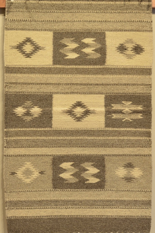 "Zapotec Center Geometry Rug - Natural Wool - 36"" X 24"""