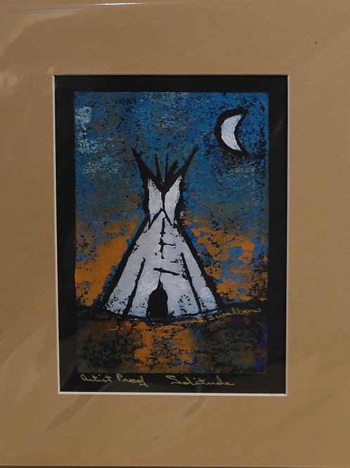 """""""Solitude"""" Artist's Proof Hand-Pulled Block Print by Sandy Swallow"""