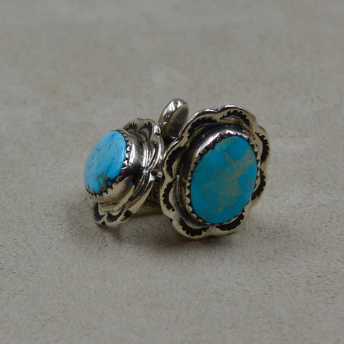 Old #8 Natural Turquoise & Sterling Silver Cufflinks by John Rippel