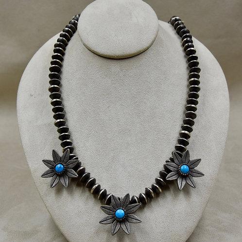 Oxidized 3 Flower Necklace w/ Kingman Turquoise by Aaron John