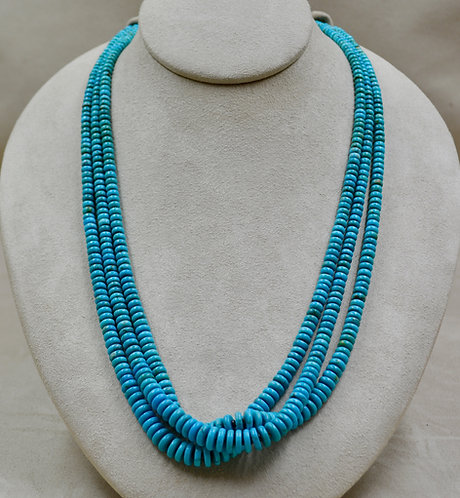 3 Strand High Grade Kingman Turquoise & Olive Shell Necklace by Kenneth Aguilar
