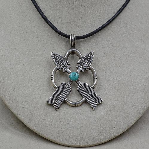 Natural Kingman Turquoise, Sterling Silver Ingot Arrow Pendant by Buffalo