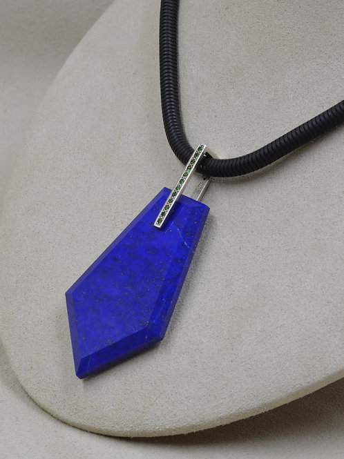 Natural Lapis, Sterling Silver, & Tsavorite Garnets Pendant by Reba Engel