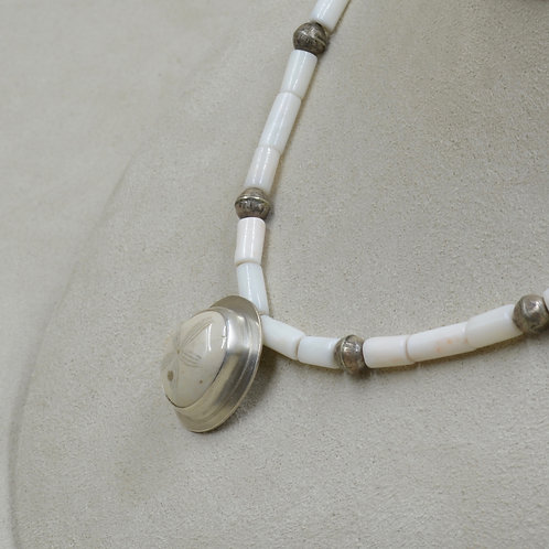 Fossil Echinoid Pendant w/ Pearl & Vintage Silver Beads by Joe Glover