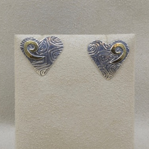 Sterling Silver with 18k Gold Spiral Heart Earrings by Richard Lindsay