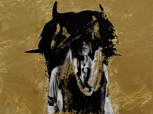"""Fighter"" Black & White Photo w/ Gold Leaf - 11"" x 14"" - by"
