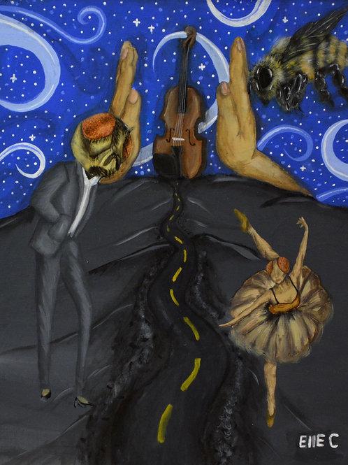 """""""Buzz Kill"""" Acrylic on Canvas - 20"""" x 16"""" - by Elle Claw"""