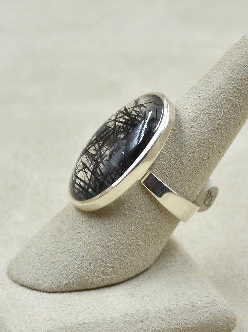 Sterling Silver Black Ruttile w/ Medium Oval 7x Ring by Sanchi & Filia