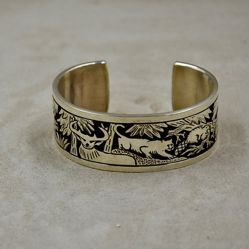Sterling Silver Storyteller Thick Overlay Cuff by Aaron John