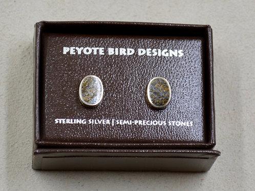 Flat Oval Bronzite Post Earrings by Peyote Bird Designs