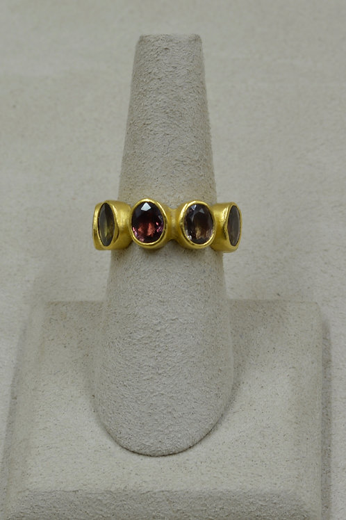22k Gold & Wine Colored Sapphires 6.5x Ring by Pamela Farland