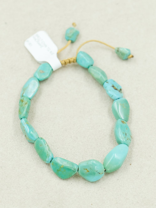 Chinese Turquoise Nugget Macrame Bracelet by True West Jewelry