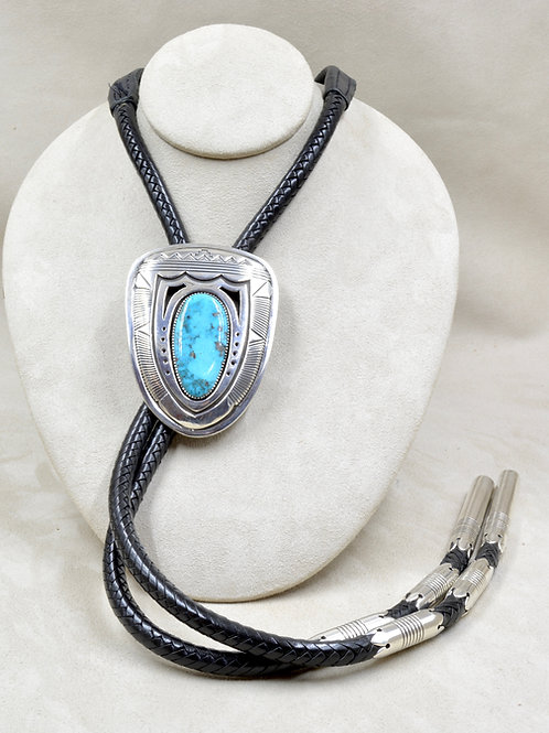 Vintage Sterling Silver & Hi Grade Kingman Turquoise Bolo by Gibson Nez