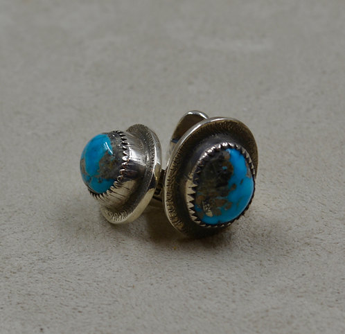Natural Morenci Turquoise & Sterling Silver Cufflinks by John Rippel