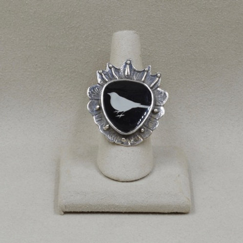 Sterling Silver Ring - Sacred Heart and Dove by Shoofly 505