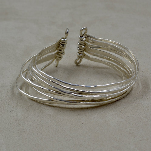 """9 Row Hammered Sterling Silver Cuff Fits 6 1/2"""" - 7"""" Wrist by Sippecan Designs"""
