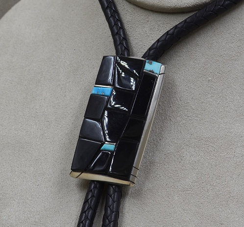 Sterling Silver Bolo with Black Jade and Kingman Turquoise by Dukepoo