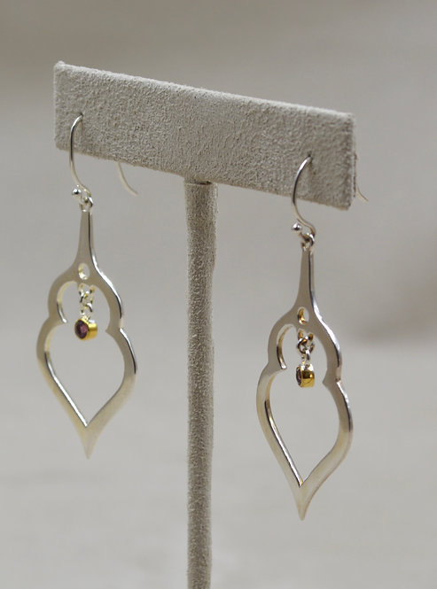 Sterling Silver Open India Earrings, 18k Plate w/ Rhodolite