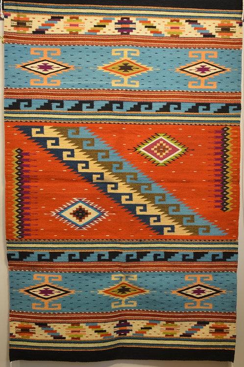 "Fino Geometric Panel w/ No Fringe X-Large Zapotec Weaving - 46"" x 80"""