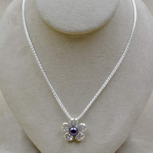 """Freshwater Pearl Flower Ravens Wing Pendant on 18"""" Silver Chain by Althea Cajero"""