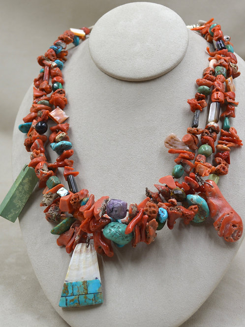 3 Strand Chunk Coral, Turquoise, Pearl, Shell, Necklace by Naomi Ca'Win