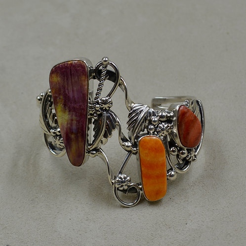 Red, Orange, Purple Spiny Oyster & Silver Cuff by Cheryl Arviso